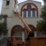 ελαιοχρωματισμός εκκλησίας με χρήση ανυψωτικού, Ι.Ν.Αγίου Στέφανου, Περισσός.